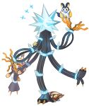 >_< ^_^ claws closed_eyes commentary conmimi creature elekid emolga english_commentary flying full_body gen_2_pokemon gen_5_pokemon gen_7_pokemon grubbin joltik no_humans pokemon pokemon_(creature) pokemon_on_arm simple_background standing standing_on_one_leg ultra_beast white_background xurkitree