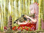 1girl absurdres bamboo bamboo_forest cigarette ears eyebrows eyebrows_visible_through_hair forest fujiwara_no_mokou grenade_launcher gun hair_ribbon highres holding holding_gun holding_weapon long_hair looking_away mgl military nature no_mouth ofuda pants red_eyes red_footwear ribbon shirt short_sleeves sitting suspenders taityon torn_clothes torn_sleeves touhou weapon white_hair