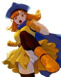 1girl alena_(dq4) arinsu_(kodamamaimai) boots breasts cape curly_hair dragon_quest dragon_quest_iv dress gloves hat highres long_hair looking_at_viewer open_mouth orange_hair panties red_eyes simple_background solo underwear white_background white_panties