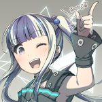 /\/\/\ 1girl ;d armpits ayasaka bang_dream! bangs black_collar black_hair blunt_bangs collar commentary finger_gun grey_background hair_bobbles hair_ornament long_hair looking_at_viewer multicolored_hair one_eye_closed open_mouth pareo_(bang_dream!) sidelocks smile solo twintails two-tone_hair upper_body violet_eyes white_hair wrist_cuffs