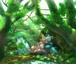 :d ^_^ apple closed_eyes commentary_request creature day flower food forest fruit gen_1_pokemon grass hug kikuyoshi_(tracco) nature nidoking nidoqueen nidoran nidoran_(female) nidorino no_humans open_mouth outdoors pokemon pokemon_(creature) river smile standing sunlight tree water