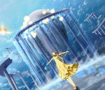 1girl breasts brown_hair day dress dutch_angle floating floating_object hayden_mackenzie highres long_hair medium_breasts mishima_reika music rahxephon sandals scenery singing sleeveless sleeveless_dress solo standing water waterfall yellow_dress