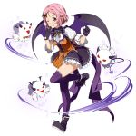 1girl ;p bangs bat_hair_ornament black_footwear black_skirt black_wings closed_mouth dress_shirt freckles frilled_skirt frills full_body gloves hair_ornament halloween halloween_costume highres lisbeth long_sleeves looking_at_viewer miniskirt neck_ribbon official_art one_eye_closed orange_ribbon pink_hair purple_gloves purple_legwear red_eyes ribbon ribbon-trimmed_sleeves ribbon_trim shiny shiny_hair shirt short_hair skirt smile solo standing standing_on_one_leg swept_bangs sword_art_online thigh-highs tongue tongue_out transparent_background vampire white_shirt wings zettai_ryouiki
