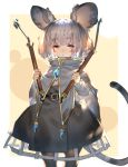 1girl :< animal_ears bangs beige_background black_legwear border brooch capelet commentary_request dowsing_rod eyebrows_visible_through_hair grey_capelet grey_skirt highres holding jewelry long_sleeves looking_at_viewer mouse_ears mouse_tail nazrin outside_border pantyhose red_eyes shirt short_hair silver_hair skirt solo tail thick_eyebrows touhou uu_uu_zan white_border white_shirt