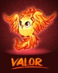 bird bird_focus brown_eyes creature english_text flying full_body gen_1_pokemon moltres no_humans pokemon pokemon_(creature) pokemon_(game) pokemon_go red_theme solo team_valor tintreas