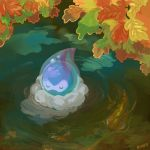 afloat autumn_leaves castform closed_eyes closed_mouth commentary creature english_commentary full_body gen_3_pokemon memookami no_humans pokemon pokemon_(creature) ripples signature smile solo water