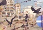 1girl bird brown_hair clouds crow day english_commentary fence flock gravel hands_in_pockets highres hood hoodie industrial issindotai jacket looking_away looking_up original pantyhose railroad_tracks shoes short_hair sign skirt sky sneakers solo standing