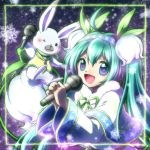 1girl ahoge aqua_eyes aqua_hair capelet dress flower fur-trimmed_capelet fur_trim gold_trim green_scarf hair_flower hair_ornament hairband hands_up hatsune_miku highres holding holding_microphone long_hair looking_at_viewer microphone miesa night one_eye_closed open_mouth rabbit rabbit_yukine scarf smile snowbell_(flower) snowflake_print snowflakes snowing twintails upper_body very_long_hair vest vocaloid white_capelet white_dress yuki_miku yuki_miku_(2015)