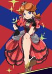 1girl alternate_color black_gloves blue_eyes brooch brown_hair crown dress gloves gold_footwear high_heels highres jewelry looking_at_viewer mario_(series) mini_crown popioka princess_daisy puffy_short_sleeves puffy_sleeves red_dress short_sleeves smile solo sparkle super_smash_bros.