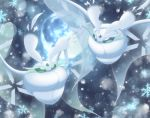 alternate_color commentary_request creature eye_contact flying frosmoth full_body full_moon gen_8_pokemon looking_at_another maiko_(mimi) moon no_humans outdoors pokemon pokemon_(creature) shiny_pokemon snowflakes white_theme