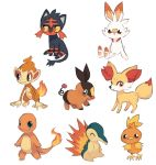 :d bird blue_eyes charamells charmander chimchar claws closed_eyes closed_mouth creature cyndaquil fennekin fiery_tail fire flame full_body gen_1_pokemon gen_2_pokemon gen_3_pokemon gen_4_pokemon gen_5_pokemon gen_6_pokemon gen_7_pokemon gen_8_pokemon litten monkey no_humans open_mouth pokemon pokemon_(creature) red_eyes scorbunny simple_background sitting smile standing tail tepig torchic violet_eyes white_background