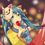 1girl asymmetrical_clothes asymmetrical_sleeves bangs blue_bow blue_eyes blue_hair blurry blurry_background bow breasts candy_apple collarbone detached_sleeves dust_particles eyebrows_visible_through_hair floating_hair food fox_mask hair_between_eyes hatsune_miku highres holding holding_food japanese_clothes kimono long_hair long_sleeves mask mask_on_head sash shi_yiyiyi shiny shiny_hair small_breasts solo upper_body very_long_hair vocaloid wide_sleeves