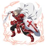 1boy black_pants boots cape closed_mouth faulds floating_hair full_body gloves heathcliff highres holding holding_shield holding_sword holding_weapon long_hair male_focus official_art pants ponytail red_footwear shield shoulder_armor silver_hair solo spaulders sword sword_art_online transparent_background weapon white_cape white_gloves