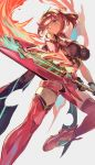 1girl armor bangs boots breasts earrings fingerless_gloves fire gem gloves hair_ornament headpiece highres holding holding_sword holding_weapon homura_(xenoblade_2) jewelry large_breasts one_eye_closed pose red_eyes red_shorts redhead short_hair short_shorts shorts shoulder_armor solo swept_bangs sword thigh-highs vic weapon xenoblade_(series) xenoblade_2