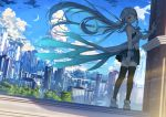 1girl :o aqua_eyes aqua_hair aqua_skirt bangs bare_shoulders black_legwear blue_sky building city cityscape clouds commentary_request copyright_request crescent_moon day dress eyebrows_visible_through_hair fence floating_hair hair_blowing hair_ribbon hand_on_wall highres kantoku kneehighs light_rays loafers long_hair looking_back miniskirt moon open_mouth outdoors parted_bangs parted_lips pleated_dress ribbon rooftop scenery shoes skirt sky skyscraper solo standing sunbeam sunlight tareme thigh-highs tree very_long_hair wrist_cuffs zettai_ryouiki