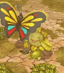 :d ^_^ beautifly bug butterfly closed_eyes commentary creature english_commentary eye_contact flying full_body gen_2_pokemon gen_3_pokemon grass insect looking_at_another memookami no_humans open_mouth pokemon pokemon_(creature) shadow sitting smile sunflora
