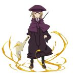 1girl black_coat black_neckwear brown_hair cardinal_(sao) closed_mouth collared_shirt frown full_body glasses green_eyes hat highres holding holding_staff long_sleeves looking_at_viewer medium_hair necktie official_art pince-nez purple_coat purple_headwear shiny shiny_hair shirt solo staff standing sword_art_online tassel transparent_background white_shirt wing_collar