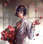 1boy black_hair blue_eyes bob_cut bouquet bruno_buccellati cdash817 cleavage_cutout commentary_request flower highres jacket jojo_no_kimyou_na_bouken lips looking_at_viewer male_focus nose petals red_flower red_rose rose rose_petals solo upper_body white_jacket