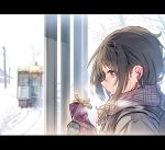 1girl backpack bag black_gloves black_hair brown_eyes commentary_request daito earphones earphones from_side gift gloves ground_vehicle letterboxed mole mole_under_eye original plaid plaid_scarf portrait power_lines scarf serious snow solo train valentine winter