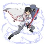 1boy bangs black_eyes black_gloves black_hair cape clenched_teeth fingerless_gloves gloves grey_pants hair_between_eyes highres holding holding_shield holding_sword holding_weapon kirito long_sleeves male_focus official_art pants shield shiny shiny_hair shirt solo sword sword_art_online teeth transparent_background weapon white_cape white_shirt