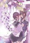 2girls bangs black_neckwear black_sailor_collar black_skirt blush brown_hair cardigan commentary_request eyebrows_visible_through_hair facing_another flower grey_eyes hair_flower hair_ornament holding_hands imminent_kiss interlocked_fingers long_hair long_sleeves looking_at_another low_twintails millcutto multiple_girls open_cardigan open_clothes original parted_lips pleated_skirt purple_cardigan purple_flower sailor_collar school_uniform serafuku shirt skirt sleeves_past_wrists twintails white_cardigan white_flower white_shirt yuri