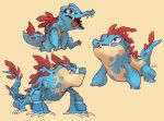 claws creature croconaw feraligatr full_body gen_2_pokemon its-goon no_humans pokemon pokemon_(creature) sharp_teeth signature simple_background teeth totodile yellow_background