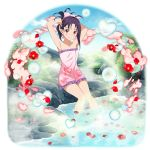 1girl ahoge animal_print armpits arms_up bow butterfly_print closed_mouth collarbone day flat_chest flower frilled_towel full_body hair_bow heart highres long_hair looking_at_viewer naked_towel official_art onsen outdoors pink_bow pink_towel print_towel purple_hair red_eyes red_flower shiny shiny_hair sitting smile soaking_feet solo sword_art_online tied_hair towel transparent_background tying_hair yuuki_(sao)