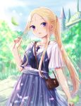 1girl abigail_williams_(fate/grand_order) alternate_costume bag bangs bare_shoulders black_camisole blonde_hair blue_eyes blue_skirt blue_sky blurry blurry_background blush breasts building camisole collarbone commentary_request day depth_of_field facial_mark fate/grand_order fate_(series) forehead forehead_mark hair_ornament hair_scrunchie hand_up highres keyhole leaf long_hair looking_at_viewer nail_polish off-shoulder_shirt off_shoulder orange_scrunchie outdoors parted_bangs parted_lips pink_nails pleated_skirt ponytail sanka_tan scrunchie shirt short_sleeves shoulder_bag sidelocks skirt sky small_breasts smile solo very_long_hair white_shirt