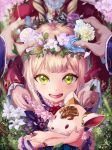 1girl 2others animal bangs commentary_request dress flower gem gotthelife hair_flower hair_ornament head_out_of_frame highres holding holding_animal holding_flower jewelry lolita_fashion looking_at_viewer luna_(shadowverse) multiple_others open_mouth out_of_frame petals pink_flower pov pov_hands purple_dress ring shadowverse smile spring_(season) stuffed_animal stuffed_toy white_flower yellow_eyes