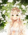 1girl bangs bare_shoulders blonde_hair blurry blurry_background blush commentary day depth_of_field detached_sleeves dew_drop dress english_commentary eyebrows_visible_through_hair flower frilled_sleeves frills from_side green_eyes highres leaf long_hair looking_at_viewer looking_to_the_side original outdoors parted_lips plant short_sleeves sparkle sweat upper_body water_drop wavy_hair weri white_dress white_flower