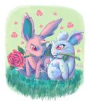 brown_eyes claws commentary couple creature english_commentary eye_contact floral_background flower full_body gen_1_pokemon grass green_background hetero highres horn looking_at_another missarilicious mouth_hold nidoran nidoran_(female) nidoran_(male) no_humans pink_eyes pink_flower pink_rose pokemon pokemon_(creature) rose simple_background sitting