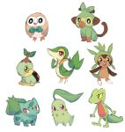 :d bird brown_eyes bulbasaur charamells chespin chikorita claws closed_mouth creature full_body gen_1_pokemon gen_2_pokemon gen_3_pokemon gen_4_pokemon gen_5_pokemon gen_6_pokemon gen_7_pokemon gen_8_pokemon green_eyes grookey no_humans open_mouth pokemon pokemon_(creature) red_eyes rowlet simple_background sitting smile snivy standing treecko turtwig white_background
