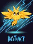 bird bird_focus black_eyes creature electricity english_text flying full_body gen_1_pokemon no_humans pokemon pokemon_(creature) pokemon_(game) pokemon_go solo team_instinct thunder tintreas zapdos