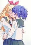 2girls aikatsu! aikatsu!_(series) blonde_hair blue_hair blue_scrunchie blush bow closed_eyes hair_bow hair_ornament hair_scrunchie hairband hand_on_another's_hip highres hoshimiya_ichigo kiriya_aoi long_hair multiple_girls open_mouth sailor_collar school_uniform scrunchie serafuku side_ponytail upper_body white_background yamamura_saki yuri