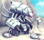 antennae blue_sky claws commentary_request creature day eye_contact full_body gen_7_pokemon golisopod looking_at_another mijinko_(barabadge) mountain no_humans outdoors pokemon pokemon_(creature) sand shadow sky standing wimpod