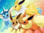 :d blue_eyes brown_eyes commentary_request creature eevee english_commentary eye_contact flareon gen_1_pokemon happy jolteon looking_at_another maiko_(mimi) no_humans open_mouth pokemon pokemon_(creature) rainbow_background smile spikes vaporeon violet_eyes walking