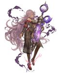 1girl blue_eyes breasts choker cinderella_(sinoalice) dark_skin full_body grin hair_over_one_eye high_heels ji_no large_breasts lavender_hair long_hair looking_at_viewer official_art sandals see-through sinoalice smile smoke solo syringe thigh-highs transparent_background very_long_hair