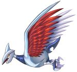 bird bird_focus blue_eyes claws commentary conmimi creature english_commentary flying full_body gen_2_pokemon horn no_humans pokemon pokemon_(creature) sharp_teeth simple_background skarmory solo teeth white_background yellow_sclera