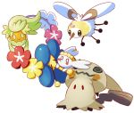 blush_stickers bounsweet cherubi closed_mouth comfey commentary conmimi creature cutiefly english_commentary eye_contact flabebe flower flying full_body gen_4_pokemon gen_6_pokemon gen_7_pokemon holding holding_flower looking_at_another mimikyu no_humans pokemon pokemon_(creature) simple_background smile standing tears white_background