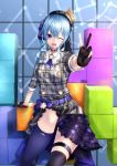 1girl beret black_gloves block blue_eyes blue_hair commentary_request gloves hair_ornament hat highres hololive hoshimachi_suisei leg_up looking_at_viewer medium_hair one_eye_closed open_mouth side_ponytail sitting solo suisei_channel tetris thigh-highs v virtual_youtuber