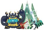 antennae buzzwole celesteela commentary conmimi creature english_commentary floating full_body gen_7_pokemon guzzlord kartana nihilego no_humans pheromosa pokemon pokemon_(creature) pose simple_background size_difference standing standing_on_one_leg ultra_beast white_background xurkitree