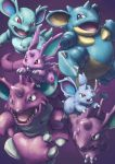 black_eyes claws creature gen_1_pokemon horn horns jumping looking_at_another mijinko_(barabadge) nidoking nidoqueen nidoran nidoran_(female) nidoran_(male) nidorina nidorino no_humans pokemon pokemon_(creature) purple_background red_eyes simple_background walking
