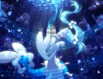 blue_theme commentary_request creature eyelashes full_body gen_7_pokemon long_hair maiko_(mimi) music musical_note no_humans open_mouth pokemon pokemon_(creature) primarina singing solo tagme tied_hair underwater water window