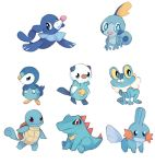 :o bird blue_eyes brown_eyes charamells closed_mouth creature froakie full_body gen_1_pokemon gen_2_pokemon gen_3_pokemon gen_4_pokemon gen_5_pokemon gen_6_pokemon gen_7_pokemon gen_8_pokemon mudkip no_humans open_mouth oshawott piplup pokemon pokemon_(creature) popplio shell simple_background sitting sobble squirtle standing totodile turtle white_background