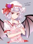1girl artist_name bangs bat_wings bow brooch commentary_request cropped_torso dated dress eyebrows_visible_through_hair fang fang_out flower frilled_shirt_collar frills grey_background hand_up hat hat_bow hat_flower highres jewelry looking_at_viewer mob_cap mudix2 pink_dress puffy_short_sleeves puffy_sleeves purple_flower purple_rose red_bow red_eyes remilia_scarlet rose short_hair short_sleeves signature silver_hair simple_background smile solo touhou upper_body white_headwear wings wrist_cuffs