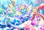 :d blue_eyes bubble commentary_request creature crown eye_contact eyelashes gen_1_pokemon gen_3_pokemon gen_7_pokemon happy looking_at_another maiko_(mimi) milotic no_humans ocean open_mouth pokemon pokemon_(creature) primarina seashell shell smile sparkle underwater vaporeon violet_eyes