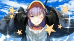 1girl animal_hood bangs black_jacket blue_bow blue_choker blue_eyes blue_sky blush boba bow breasts choker closed_mouth emotional_engine_-_full_drive fate/grand_order fate_(series) hair_between_eyes hands_up hood hood_up jacket licking_lips long_hair long_sleeves looking_at_viewer meltryllis meltryllis_(swimsuit_lancer)_(fate) one_eye_closed parody penguin_hood purple_hair sky sleeves_past_fingers sleeves_past_wrists smile sparkle star tongue tongue_out