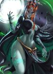 1girl absurdres blue_skin breasts commentary gloves highres hlulani long_hair looking_at_viewer midna midna_(true) navel pinup pointy_ears red_eyes solo the_legend_of_zelda the_legend_of_zelda:_twilight_princess
