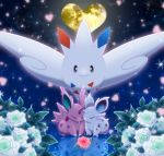 black_eyes claws closed_eyes couple creature facing_another flower flying full_body gen_1_pokemon gen_4_pokemon heart hetero looking_at_another maiko_(mimi) nidoran nidoran_(female) nidoran_(male) no_humans pokemon pokemon_(creature) rose smile snowflakes togekiss white_flower white_rose