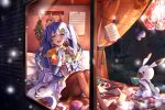 1girl :d animal band_uniform bangs bed_sheet blue_eyes blue_hair blue_jacket blue_skirt blush book_stack bow brown_legwear cake ceiling_light clothed_animal clothes_pin clothesline commentary cookie cup curtains diamond_(symbol) epaulettes feet_out_of_frame food french_horn from_outside gloves hair_ornament hairclip hat hat_feather hat_removed hatsune_miku headwear_removed herb_bundle holding holding_cup holding_instrument horn_(instrument) hot_chocolate instrument jacket knees_up kyashii_(a3yu9mi) light_particles long_hair long_sleeves looking_away looking_out_window looking_to_the_side mini_shako_cap musical_note musical_note_print on_bed open_mouth pantyhose pillow rabbit rabbit_yukine sheet_music sitting skirt skirt_set smile snowing sweets teacup themed_object tray very_long_hair vocaloid white_bow white_gloves window x_hair_ornament yuki_miku yuki_miku_(2020)